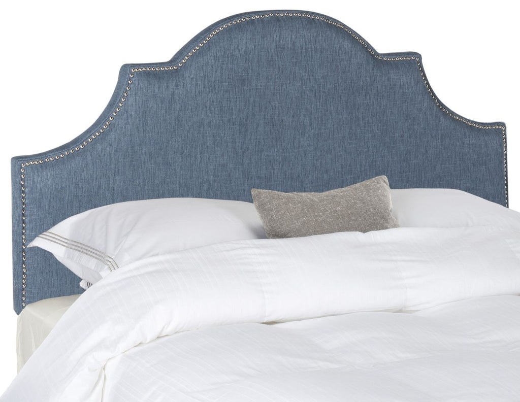Hallmar Denim Blue Headboard - Silver Nail Head King