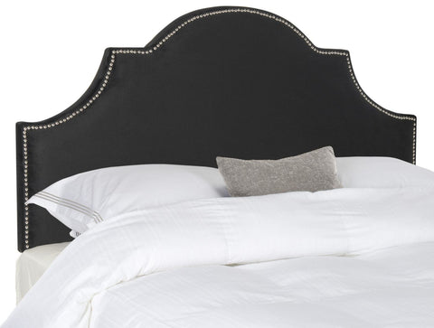 Hallmar Black Velvet Headboard - Silver Nail Head King