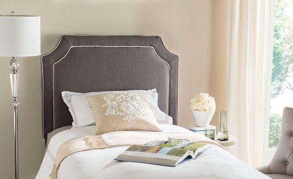 Dane Charcoal & Light Grey Piping Headboard King