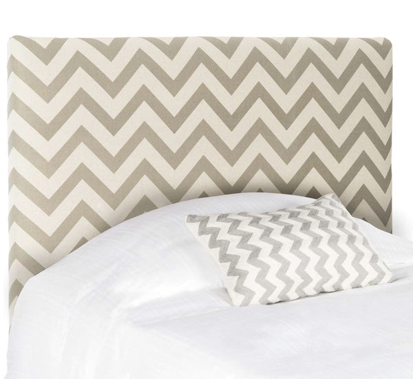 Ziggy Grey & White Zig Zag Headboard Queen