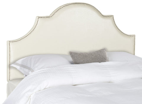 Hallmar White Leather Headboard - Silver Nail Head Full