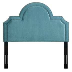 Laylah Full Headboard In Sea Blue Velvet