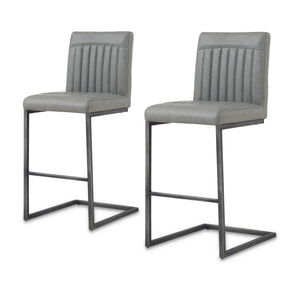 New Pacific Direct 1060008-216 Ronan PU Leather Counter Stool (Set of 2) Antique Graphite Gray