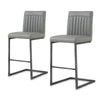 Ronan PU Leather Counter Stool (Set of 2) Antique Graphite Gray