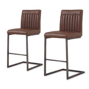 New Pacific Direct 1060008-215 Ronan PU Leather Counter Stool (Set of 2) Antique Cigar Brown