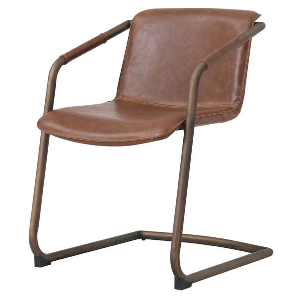 New Pacific Direct 1060007-215 Indy PU Side Chair Rubbed Gold Frame, Antique Cigar Brown Antique Cigar Brown