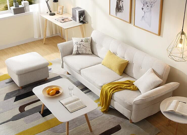 Sofa Beds - Vig Furniture VGKNI3062-IVY Divani Casa Jeremiah Modern Ivory Fabric Sofabed & Ottoman | Only $999.80. Buy today at http://www.contemporaryfurniturewarehouse.com