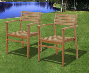 Amazonia Teak Coventry Stacking Chairs (Set Of 2) Outdoor Dining Chair