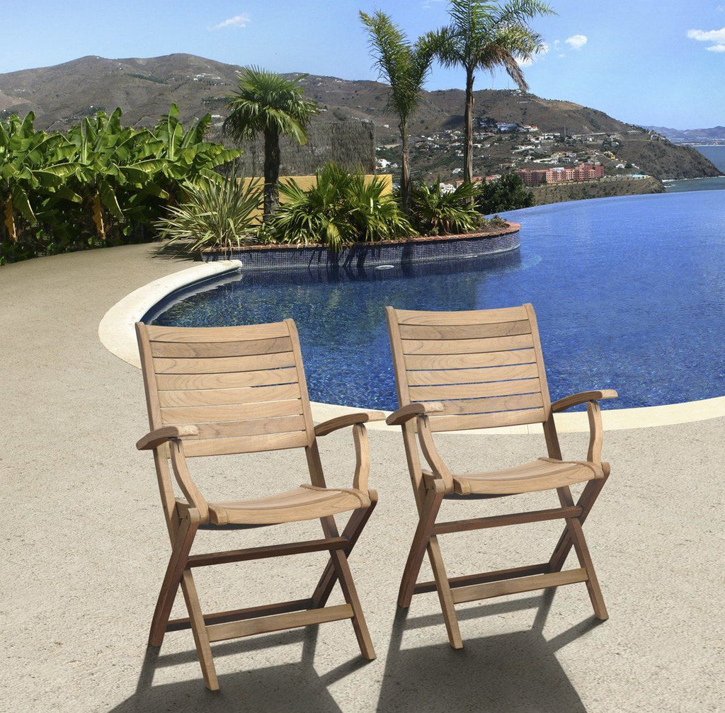 Amazonia Teak Dublin 2 Pc Folding Armchairs Outdoor Dining Chair