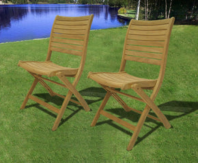 Amazonia Teak Dublin Folding Chairs (Set Of 2) Outdoor Dining Chair