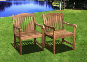 Amazonia Teak Newcastle Armchairs (Set Of 2) Outdoor Dining Chair