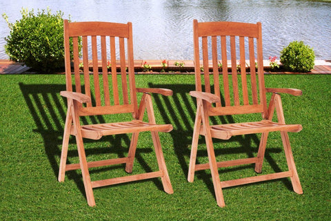 Amazonia Teak Belfast Position Chairs (Set Of 2) Outdoor Dining Chair