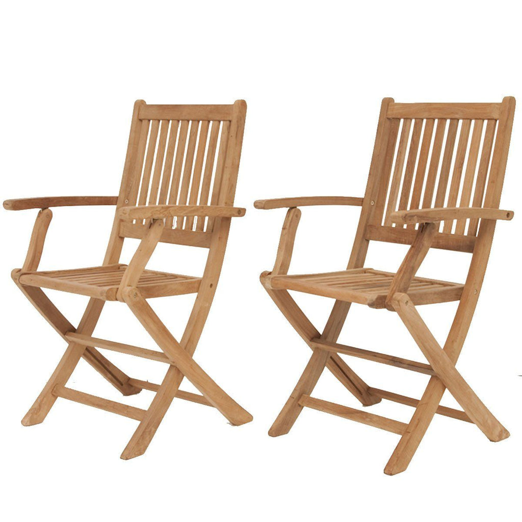 Amazonia Teak London Folding Armchair (Set Of 2) Outdoor Dining Chair