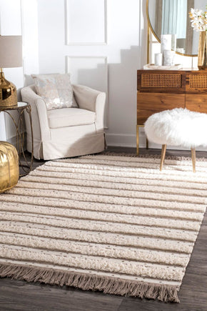 Ivory & Whites, Rugs - nuLOOM SESQ02A-508 nuLOOM Batista Tassel Area Rug | 842736104795 | Only $314.80. Buy today at http://www.contemporaryfurniturewarehouse.com
