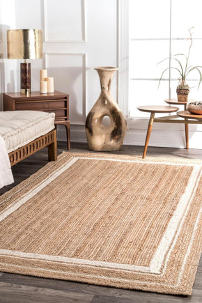 Nuloom Braided Rikki Border Jute Area Rug
