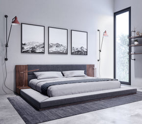 Beds - Vig Furniture VGMABR-55-BED Nova Domus Jagger Modern Dark Grey & Walnut Bed | Only $1019.80. Buy today at http://www.contemporaryfurniturewarehouse.com