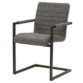 New Pacific Direct 3400021-266 Gerald PU Leather Arm Chair (Set of 2) Kalahari Gray