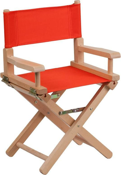 Kid Size Directors Chair In Black Red Kids Folding