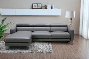 Sectional Sofas - Vig Furniture VGKM5237-O7019 Divani Casa Booth Modern Dark Grey Leather Sectional Sofa w/ Electric Recliner | Only $2679.80. Buy today at http://www.contemporaryfurniturewarehouse.com