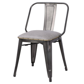 New Pacific Direct 9300030-239 Brian PU Leather Metal Side Chair (Set of 4) Vintage Mist Gray