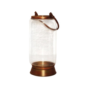 Taos Large Lantern In Burned Copper Copper,clear