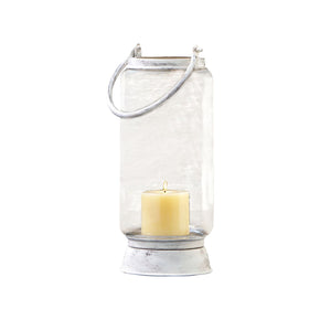 Taos Large Lantern In Antique White White,clear