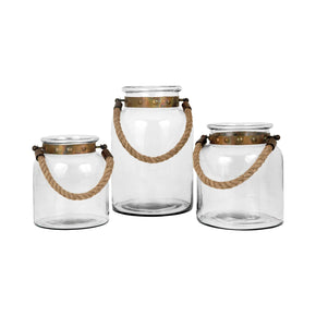 Calico Set Of 3 Lanterns Clear,burned Copper Lantern