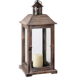 Denley Old World Style Lantern Made Of Weathered Wood