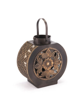Leaves Lantern Small Black & Gold