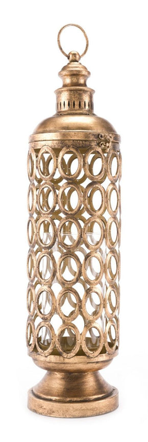 Circles Lantern Lg Antique Gold