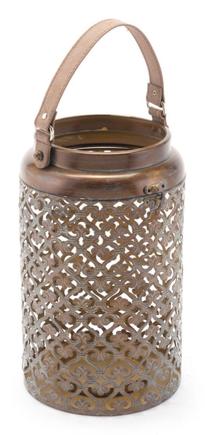 Moroccan Lantern Lg Distressed Copper