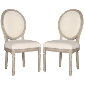 Dining Chairs - Safavieh FOX6228H-SET2 Holloway Oval Side Chair Light Beige Linen (set of 2) | 889048034532 | Only $394.80. Buy today at http://www.contemporaryfurniturewarehouse.com