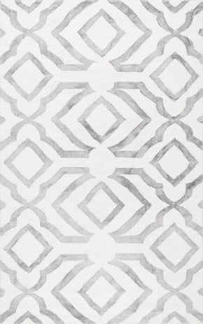 Nuloom Hand Looped Baggett Light Grey Rug