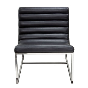 Bardot Lounge Chair W/ Stainless Steel Frame - Black