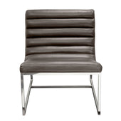 Bardot Lounge Chair W/ Stainless Steel Frame - Elephant Grey