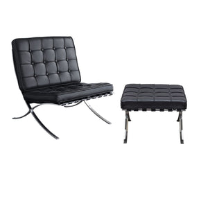 Cordoba Tufted Chair & Ottoman 2Pc Set W/ Stainless Steel Frame - Black Lounge