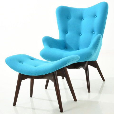 Auzzie Lounge Chair And Ottoman In Blue