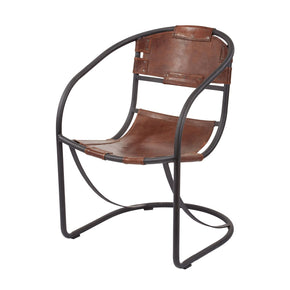 Retro Round Back Leather Lounger Tobacco,black Iron Lounge Chair