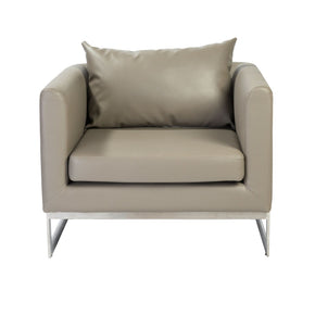Megara Lounge Chair In Taupe With Brushed Stainless Steel Base