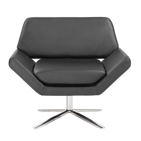 Carlotta Lounge Chair In Black With Brushed Stainless Steel Base