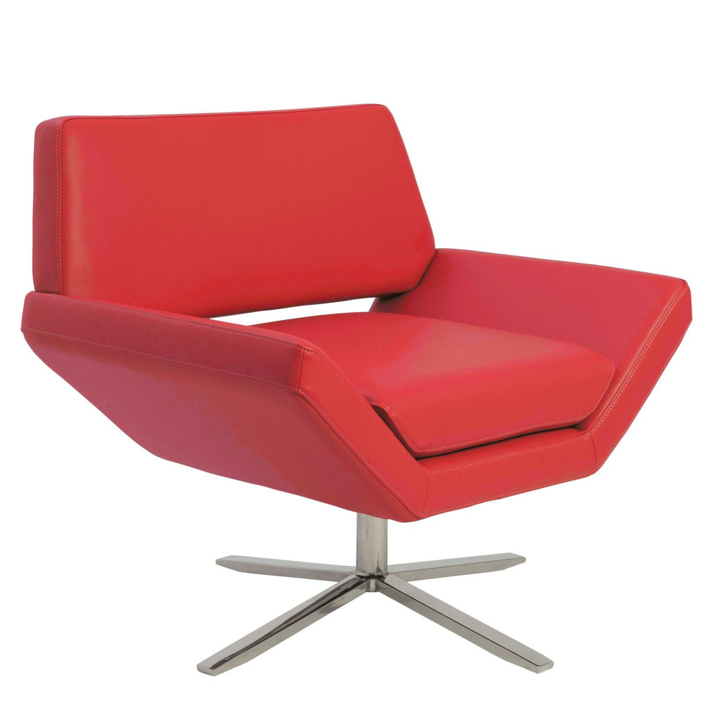 Buy Euro Style EURO 38698RED Carlotta Lounge Chair In Red With Brushed  Stainless Steel Base At Contemporary Furniture Warehouse