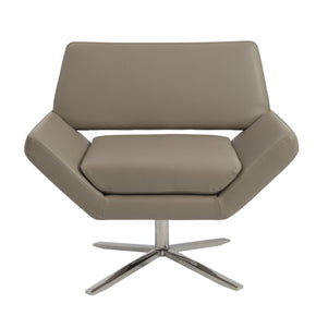 Carlotta Lounge Chair In Taupe With Brushed Stainless Steel Base