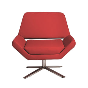 Carlotta-S Lounge Chair In Red With Brushed Stainless Steel Base