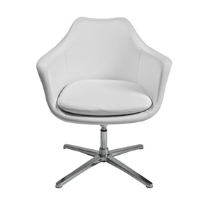 Giovana Lounge Chair In White With Polished Aluminum Base