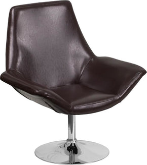 Sabrina Series Brown Leather Reception Chair Lounge