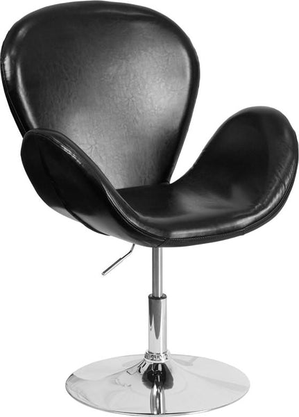 Trestron Series Black Leather Reception Chair With Adjustable Height Seat Lounge