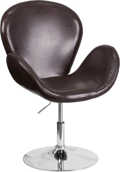 Trestron Series Black Leather Reception Chair With Adjustable Height Seat Brown Lounge