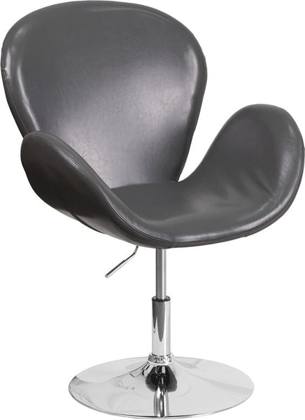 Trestron Series Black Leather Reception Chair With Adjustable Height Seat Gray Lounge