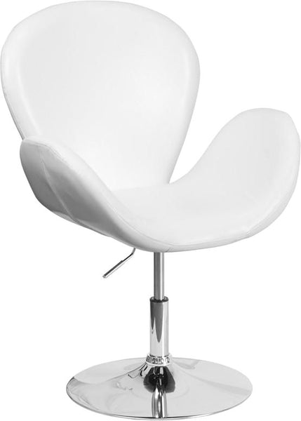 Trestron Series Black Leather Reception Chair With Adjustable Height Seat White Lounge