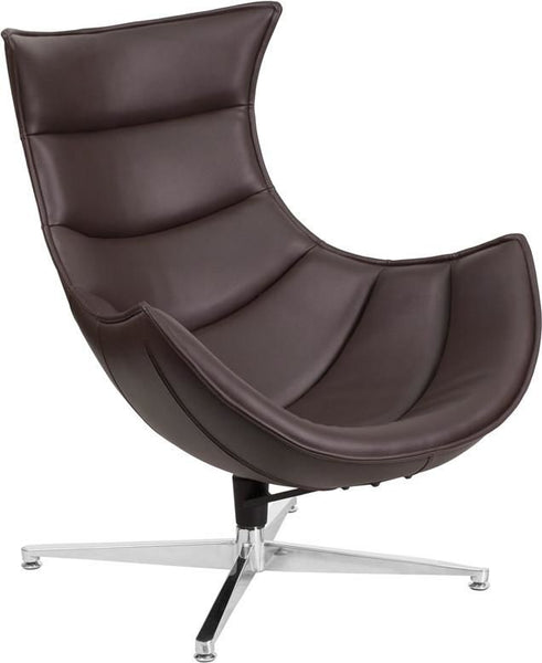 ... Cocoon Leather Swivel Lounge Chair Brown ...
